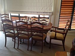 FORMAL Oak 9-piece dining table and chairs, perfect cond, hand-crafted table and carver chairs. A...