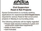 Civil Supervisor Road & Rail Projects