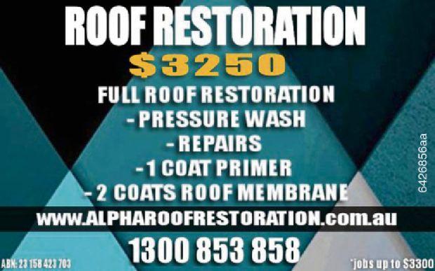 Roof Restoration $3,250    Full Roof Restoration  Pressure Wash  Repairs  1...