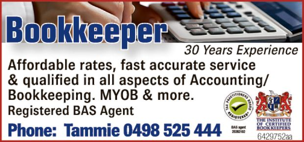 Bookkeeper – 28yrs Experience