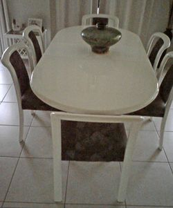 DINING Suite, 6 chairs, 2 pac, white, table 2440L x 1070W with ext, chairs, padded fabric seats,...