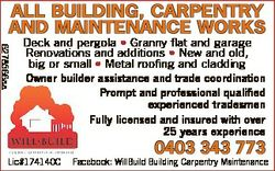 ALL BUILDING, CARPENTRY AND MAINTENANCE WORKS 6278566aa Deck and pergola * Granny flat and garage Re...