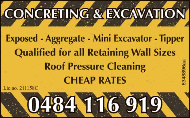CONCRETING & EXCAVATION    EXPOSED  AGGREGATE  MINI EXCAVATOR  TIPPER ...