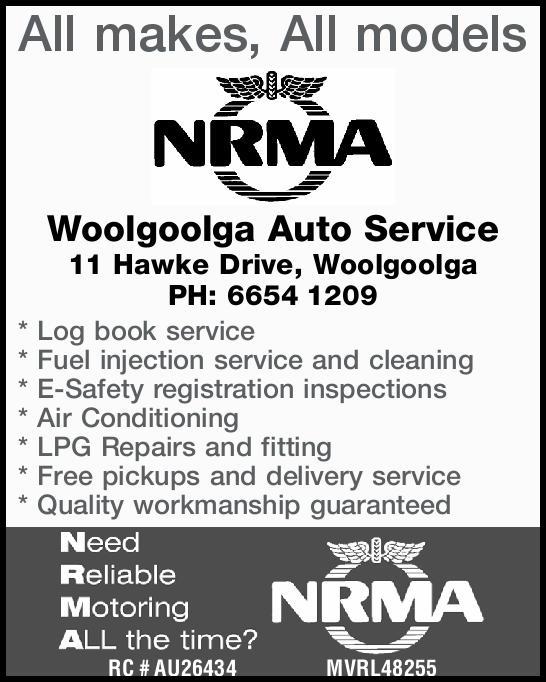 All makes, All models Woolgoolga Auto Service 11 Hawke Street, Woolgoolga PH: 6654 12...