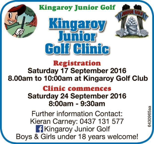 Registration   Saturday 17 September 2016 8.00am to 10:00am at Kingaroy Golf Club   Clini...