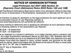 NOTICE OF ADMISSION SITTINGS