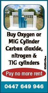 Pay no more rent 0447 649 946   Buy Oxygen or MIG Cylinder Carbon dioxide, nitrogen & TIG...