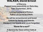 WALKER, David Ernest