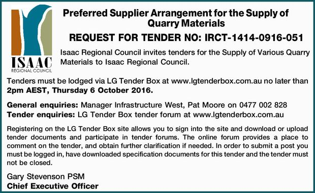 Preferred Supplier Arrangement for the Supply of Quarry Materials    REQUEST FOR TENDER NO: I...