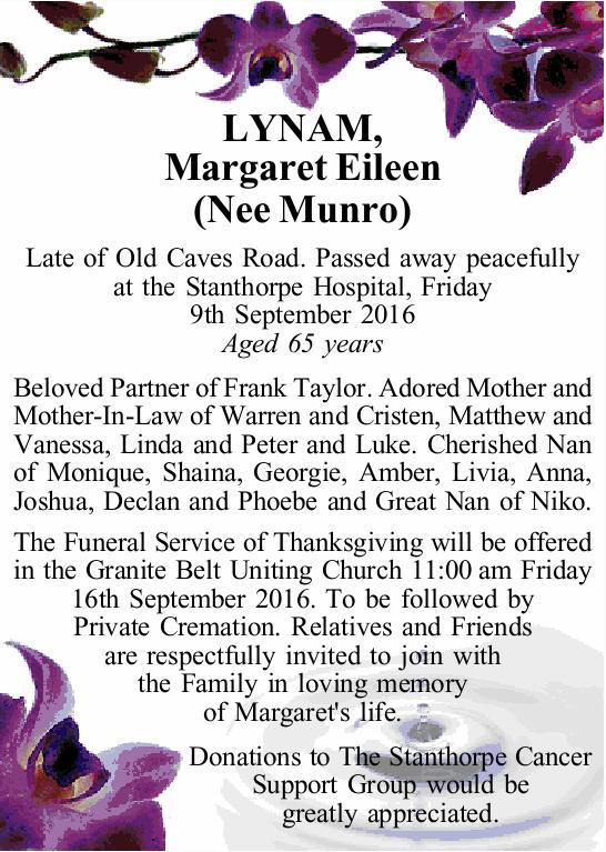 Late of Old Caves Road. Passed away peacefully at the Stanthorpe Hospital, Friday 9th September 2...