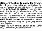 Notice of intention to apply for Probate