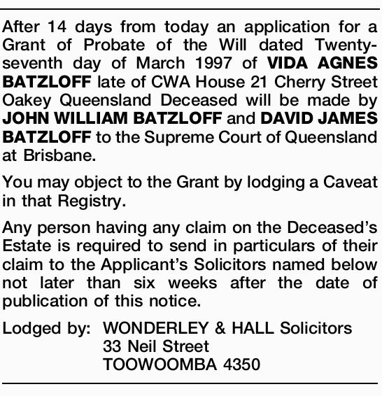 an application for a Grant of Probate of the Will dated Twenty-seventh day of March 1997 of VIDA...