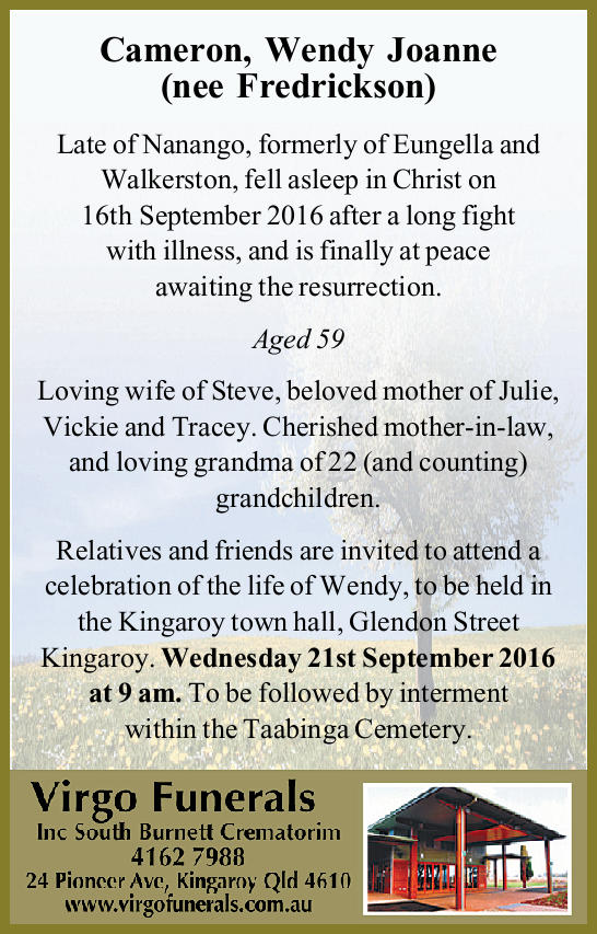 Cameron, Wendy Joanne (nee Fredrickson)