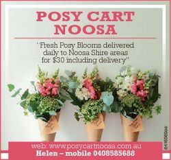 "POSY CART NOOSA web: www.posycartnoosa.com.au Helen - mobile 0408585688 6416569ae ""Fresh Posy B..."