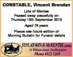 CONSTABLE, Vincent Brendan Late of Glenlee Passed away peacefully on Thursday 15th September 2016 Ag...