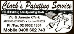 Clark's Painting Service Vic & Janelle Clark ABN 91043390033 * Lic No R933244 Ph/Fax 02 6632...