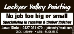 Lockyer Valley Painting No job too big or small QBCC: 1259949 * ABN: 15130635849 6279296aa Specialis...