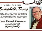 21.4.1936 - 21.9.2008 Campbell, Doug Sadly missed, you're loved and remembered everyday. From Carmel, Cameron, Helen and all of your family.