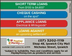 From $100 to $4,600* CHEQUE CASHING 6430120aa SHORT TERM LOANS on the spot* APPLIANCE LOANS Electric...