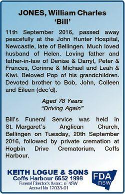 JONES, William Charles `Bill' 11th September 2016, passed away peacefully at the John Hunter Hos...