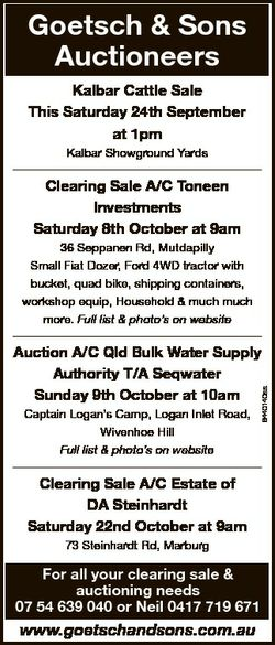 Goetsch & Sons Auctioneers Kalbar Cattle Sale This Saturday 24th September at 1pm Kalbar Showgro...