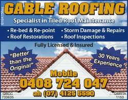 6164758aa GABLE ROOFING Specialist in Tiled Roof Maintenance * Re-bed & Re-point * Storm Damage...