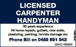 30 years experience All home repairs, gutters, new walls, plastering, painting, termite damage etc P...