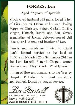FORBES, Len Aged 79 years, of Ipswich Much loved husband of Sandra, loved father of Lisa (dec'd)...