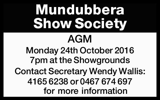 Monday 24th October 2016 7pm at the Showgrounds