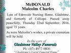 McDONALD Malcolm Charles