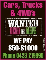 WE PAY $50-$1000 3949131aahc Cars, Trucks & 4WD's Phone 0423 219990