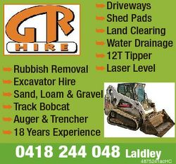 Driveways Shed Pads Land Clearing Water Drainage 12T Tipper Rubbish Removal Laser Level Excavator Hi...