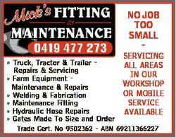 NO JOB TOO SMALL - * Truck, Tractor & Trailer - Repairs & Servicing * Farm Equipment Mainten...