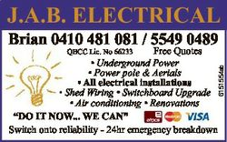 J.A.B. ELECTRICAL Brian 0410 481 081 / 5549 0489 Free Quotes * Underground Power * Power pole &...