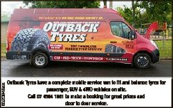 6320948aa Outback Tyres have a complete mobile service van to fit and balance tyres for passenger, S...