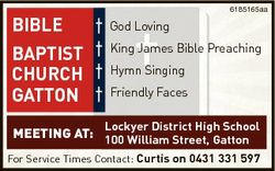 BIBLE BAPTIST CHURCH GATTON 6185165aa God Loving King James Bible Preaching Hymn Singing Friendly Fa...