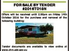 FOR SALE BY TENDER #2016T018N Offers will be received until 2.00pm on Friday 14th October 2016 for the purchase and removal of the following building: Tender documents are available to view online at www.chrc.qld.gov.au For further enquiries please contact the Supervisor, Parks & Recreation, Tieri on ...
