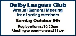 Dalby Leagues Club Annual General Meeting for all voting members Sunday October 9th Registration at...