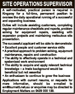 SITE OPERATIONS SUPERVISOR A self-motivated, practical person is required in Kingaroy for a full-tim...
