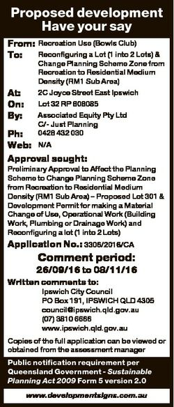 Proposed development Have your say From: To: At: On: By: Recreation Use (Bowls Club) Reconfiguring a...