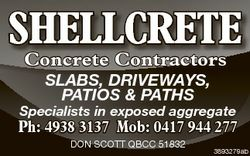 SHELLCRETE Concrete Contractors SLABS, DRIVEWAYS, PATIOS & PATHS Specialists in exposed aggregat...