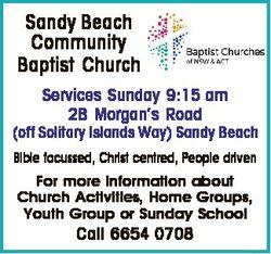 Sandy Beach Community Baptist Church Services Sunday 9:15 am 2B Morgan's Road (off Solitary Isla...