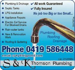 Septic Tanks  LPG Installation  Appliance Repairs  All work Guaranteed  Fully Insured No job too Big...