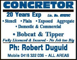 CONCRETOR 20 Years Exp Lic. No. 82028C * Stencil * Plain * Exposed Aggregate * Domestic & Commer...