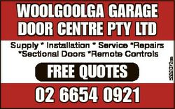 Supply * Installation * Service *Repairs *Sectional Doors *Remote Controls FREE QUOTES 02 6654 0921...