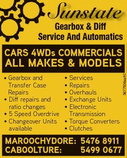 Sunstate Gearbox & Diff Service And Automatics CARS 4WDs COMMERCIALS * Gearbox and Transfer Case...