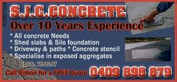 6298273aa S.J.C.CONCRETE Over 10 Years Experience * All concrete Needs * Shed slabs & Silo found...