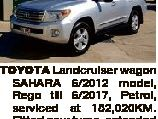 TOYOTA Landcruiser wagon SAHARA 6/2012 model, Rego till 6/2017, Petrol, serviced at 152,020KM. Fitted new tyres, extended side mirrors, tow bar, elec. Brake system for caravan. Excellent condition, 157,000KM. $69,000 PH 0419 026 943