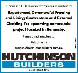 Hutchinson Builders seek expressions of interest for Please direct enquires to: Nick Linnan at nlinn...