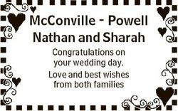 McConville - Powell Nathan and Sharah Congratulations on your wedding day. Love and best wishes from...